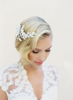 Bridal Silver Wired Hair Comb Swarovski Crystal by veiled beauty  Hand Crafted Bridal Veils and Accessories Designed by Kathy Banner - Made in the USA Shop Here: www.veiledbeauty.com  More Photos Here: https://www.facebook.com/theveiledbeauty https://twitter.com/#!/theveiledbeauty  http://instagram.com/theveiledbeauty http://pinterest.com/katjane/   Photo By Kurt Boomer