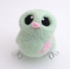 Easter Chick Needlefelted Bird in Pastel Mint by feltmeupdesigns, £14.00