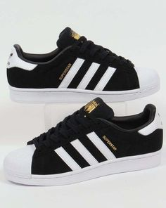 621aebbefda Adidas Originals - Adidas Superstar Suede Trainers in Black  amp  White -  shell toe in