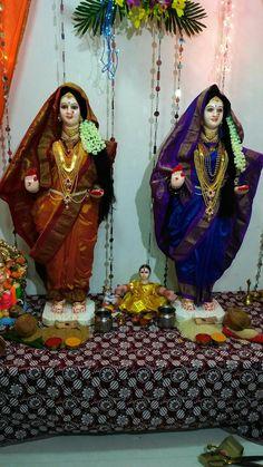 Ganpati Decoration Theme, Gauri Decoration, Ganapati Decoration, Rangoli Ideas, Rangoli Designs, Eco Friendly Ganesha, Durga Goddess, Durga Maa, Ganesh Chaturthi Decoration