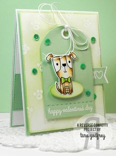 Card by Tara Godfrey. Reverse Confetti stamp set: Puppy Love. Confetti Cuts: Puppy Love and Tag Me. Valentine's Day card.