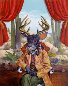 Macsorro (Jorge Macswiney) - The Jackalope Magic Realism, Lowbrow Art, Pop Surrealism, Animal Heads, Visionary Art, Fantastic Art, Psychedelic Art, Whimsical Art, Surreal Art
