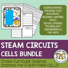 Cells STEAM Stations Labs - Cell Organelles and Processes Bundle -Cross Curricular Life Science Lab Stations. With science as the primary background subject, students will learn about the major organelles of prokaryotic and eukaryotic cells by using Social Studies (which includes history, current events and geography), Technology (computers and engineering), ELA (reading and writing), the Arts (music, art, PE/dance and debate), and Math.