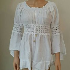 Bell Sleeve Chiffon Blouse with crochet lace 100% Cotton 100% Natural White Bell Sleeve Chiffon Blouse Tops Blouses