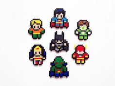 The Justice League Perler Sprites by ShowMeYourBits on Etsy, $2.00