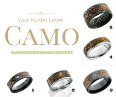 Let the hunt be over for the perfect anniversary gift for your hunter. You'll find the perfect symbol to celebrate and renew your love and marriage to the outdoorsman who captured your heart. Camo Wedding Rings, Love And Marriage, Anniversary Gifts, Engagement Rings, Outdoor, Birthday Presents, Enagement Rings, Outdoors, Wedding Rings
