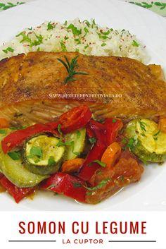 O reteta de somon cu legume la cuptor simpla si usor de facut, dar foarte gustoasa! Seafood, Chicken, Recipes, Ideas, Food, Sea Food, Recipies, Ripped Recipes, Recipe