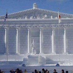 Wow! A Parthenon made of snow in Hokkaido, Japan. Complete with a Greek flag too. #athens #greece #parthenon #acropolis #japan #hokkaido #greek #greeks #greeklife