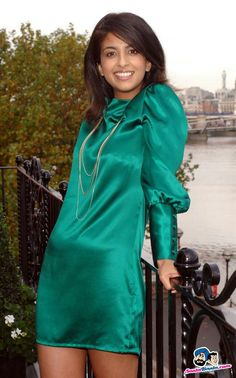 Ladies in Satin Blouses: Konnie Huq - green satin dress Satin Gown, Satin Dresses, Day Dresses, Gowns, Green Satin Dress, Blue Satin, Silk Dress, Beautiful Dresses For Women, Gorgeous Women
