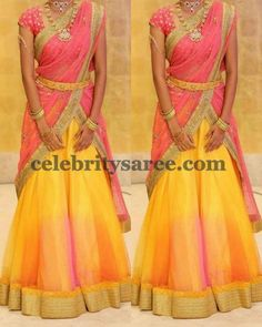 Exclusive Collection of Indian Celebrity Sarees and Designer Blouses Half Saree Lehenga, Lehnga Dress, Bridal Lehenga, Anarkali, Sharara, Saree Wedding, Lehenga Designs, Half Saree Designs, Churidar Designs