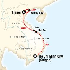Map of Classic Vietnam Hanoi to Ho Chi Minh City