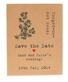 Forget me not seed packet save the date - Wildflower Favours