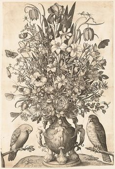 Nicolaes de Bruyn (Netherlandish, Antwerp 1571–1656 Rotterdam), After Jacob Savery I (Netherlandish, ca. 1565–1603), Vase of Flowers with Two Birds, 1590–1656