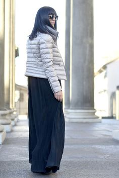 Long black dress silver quilted jacket 3