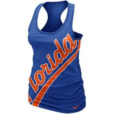 Nike Florida Gators Ladies Slanted Boyfriend Tank Top Royal Blue ($28) ❤ liked on Polyvore featuring tops, shirts, tank tops, boyfriend fit shirt, royal blue tank top, nike singlet, blue tank and nike tank
