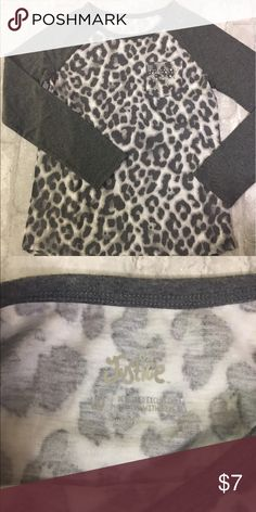Justice - big girls shirt Size 10 grey/white leopard 3/4 sleeve. Never wore. Sticker still on. Justice Shirts & Tops Tees - Long Sleeve