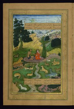 """Hasht-Bihisht_Layla visits Majnun in the wilderness. From the """"Khamsah"""", Five Poems (Quintet) of Amir Khusro. Other images from the manuscript are on the Walters Museum Date century CE Traditional Paintings, Traditional Art, Persian Poetry, Dance Paintings, Asia, Islamic Art, Indian Art, Wilderness, Art Projects"""