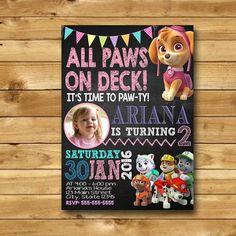 Paw Patrol Invitations Girl Paw Patrol by digitpartyprintable