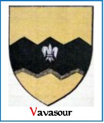 A modern representation of the Arms of Vavasour of Spaldington.  Blazon - Or, a fess dancetty Sable, charged with a fleur-de-lis Argent.