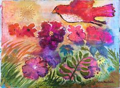 Flying Bird With Flowers Original Painting by Caren by caren