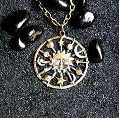 Sun Family : Bronze Handmade Pendant with chain by MagicBronze on Etsy