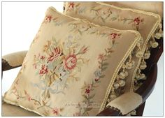 A Pair Ribbon Roses Aubusson Pillow Cushion Vintage French Home Decor Cushion   eBay