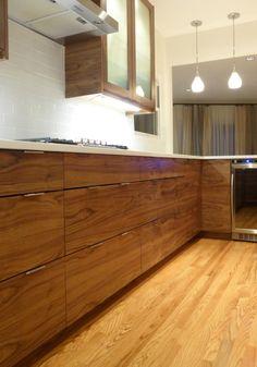 IKEA® Kitchen with Semihandmade Flatsawn Walnut fronts. More