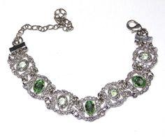 Vintage Victorian Inspired Green Rhinestone bracelet by SellitAgainVintage, $19.00