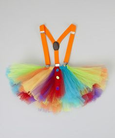 Orange  Blue Clown Tutu  Suspenders - Infant, Toddler  Girls