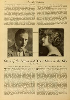 Stars of the screen and their stars in the Sky Wallace Reid and Kathlyn Williams from Photoplay magazine