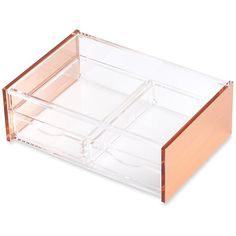Rose Gold Acrylic Cosmetics Makeup Jewelry Stationery Organizer Holder... ❤ liked on Polyvore featuring home, home decor, jewelry storage, jewelry holder, jewellery holder, rose gold jewellery box, jewellery box and acrylic jewelry holder