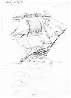 196. Tall ship. sailing ship drawing