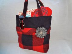 Buffalo Plaid Felted Wool Tote Bag, lined, with removable accessory flower pin/houndstooth with vintage earring center by Alfred Woolens