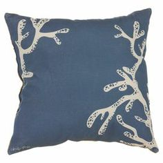 """Pillow with a coral motif.  Product: PillowConstruction Material: Burlap and buttonsColor: BlueFeatures: Insert includedDimensions: 16"""" x 16"""""""