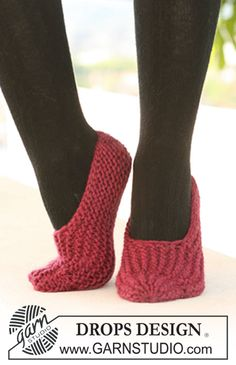 "DROPS slippers in garter st in ""Eskimo"". ~ DROPS Design"