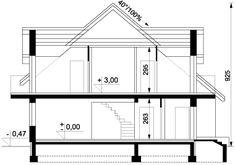 Przekrój ARD Kasztan 3 paliwo stałe CE Design Case, Window Design, Malaga, My House, Villa, Floor Plans, Arquitetura, Home, Villas