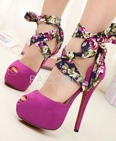 Sexy Fashion Peep Toe High Heel Shoes With Idyllic Floral Bandage