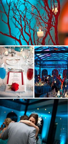 RED AND TEAL!!  the center pieces look simple...teal/aquamarine marbles/glass stones, spray painted red branches, candles!