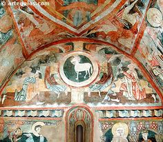 Muro del ábside con el Agnus Dei. Ermita de Maderuelo Early Christian, Christian Art, Fresco, Medieval Art, Orthodox Icons, Mural Painting, Romanesque, Sacred Art, Kirchen