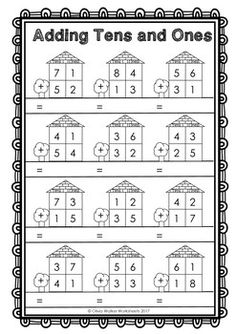 Double Digit Addition - No Regrouping - (Worksheets for 2 digit adding) Addition With Regrouping Worksheets, Addition Worksheets First Grade, 1st Grade Worksheets, Kindergarten Math Worksheets, 1st Grade Math, Math Resources, Teaching Math, Math Practice Worksheets, Social Studies Worksheets