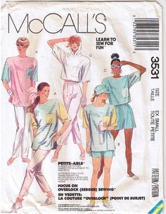 Great vintage sewing pattern from the 1980s. Loose Fitting T-Shirts, Cropped Tops, Hoodie, Pants & Shorts. Available for sale in my ebay store.