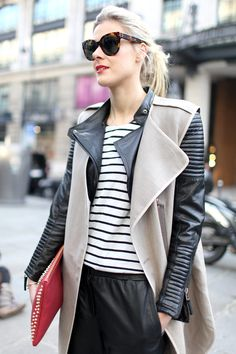 What a trendy look! Loving the pointy jacket combined with stripes.