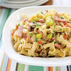 Antipasto pasta salad. Provolone, roasted red peppers, chopped pepperoncini, basil, and cooled pasta to make a great pasta salad