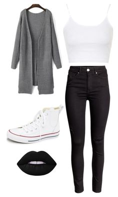 """school"" by kianaawilliams on Polyvore featuring Topshop, Converse and Lime Crime"