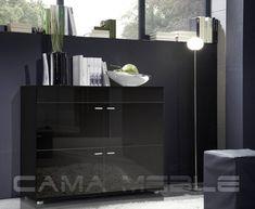 Meble do salonu, sypialni i jadalni, kuchnie na wymiar. Commode Design, Design Logo, Color Negra, Filing Cabinet, Dresser, Mirror, Storage, Furniture, Black