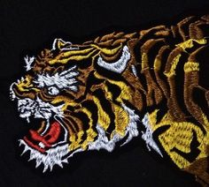 Tiger patch Tattoo patch Embroidered patch sew on patch Applique Logo Samples, Embroidered Patch, Sew On Patches, Picture Show, Applique, Sewing, Tattoos, Color, Dressmaking
