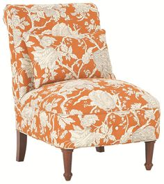 Wonderful Armless Floral Orange Chair