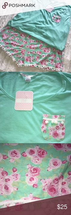 Floral Pom Pom Short Outfit Plus Sz 3X Aqua Pink Floral Pom Pom Short Sleep Outfit Plus Sz 3X Aqua and Pink Roses with white poms NWT lola Intimates & Sleepwear Pajamas