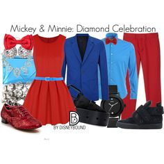 Mickey & Minnie: Diamond Celebration by leslieakay on Polyvore featuring Salsa, GUESS, J.Crew, OroClone, Dsquared2, Giuseppe Zanotti, MARC BY MARC JACOBS, Lacoste, POGGIANTI and Saturdays