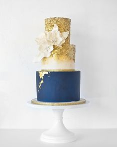 "102 Likes, 9 Comments - Kaked by Katie (@kakedbykatie) on Instagram: ""First Wedding Cake for 2018 ✨ I have a thing for bold blue tiers. There is nothing as soothing…"""